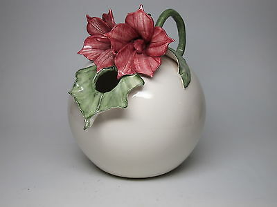 Unique Ceramic Water Pitcher Lily Flower Red Leaf is Spout Signed Round Sphere