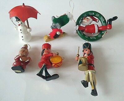 Vintage lot (6) wodden hand painted ornaments snowman drummer mouse