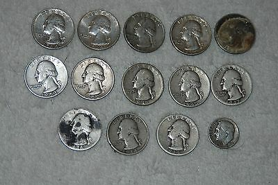 Lot of 13 Washington 90% Silver Quarters + 1 90% Silver Dime : TOTAL 14 COINS