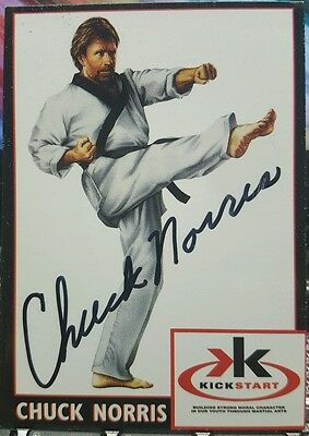 """CHUCK NORRIS Signed Autographed Trading Card """"Kick Start"""" JSA certified #R02537"""