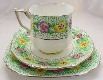 Bell China Porcelain Trio Cup Saucer Plate Floral Art Deco 2743