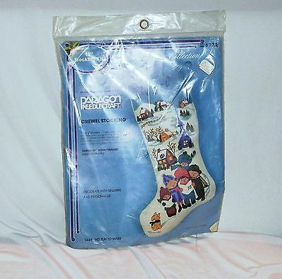 """Paragon Needlecraft #6722 Crewel Stocking """"The Carolers""""  18 in When Finished"""