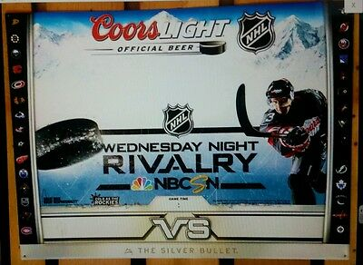 COORS LIGHT BEER NHL HOCKEY Dry Erase 18x24 METAL SIGN Red Wings & All Team Logo