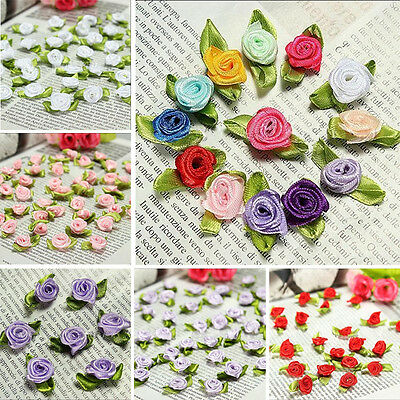 100 pcs mini Satin Ribbon Rose Flower DIY Craft Wedding Appliques Lots U Pick