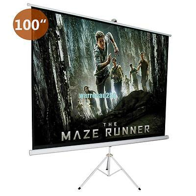 """Portable 100""""Projector Tripod Screen Home Cinema Projection HD Height Adjustable"""