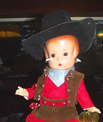 "Effanbee 90's Vinyl Patsy Cowgirl in Western getup Doll-13"" on nice doll stand"