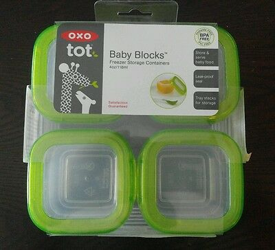 OXO 6PC SET Toddler Tot Baby Blocks Freezer Storage Containers 2