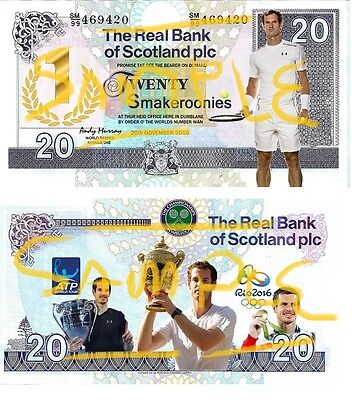 "Special Edition Novelty Andy Murray Tennis ""Smakeroonies"" Banknote"