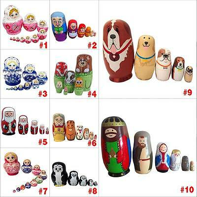 Baby Toy Nesting Dolls Wooden Matryoshka Set Russian Dolls Hand Painted Toys