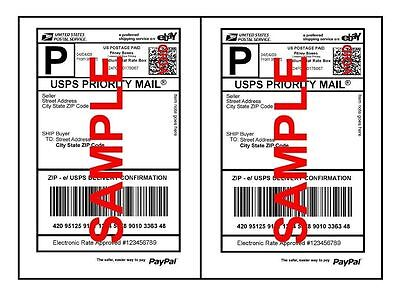 Economy Thin Self Adhesive Paypal Shipping Labels 8.5 x 5.5 (Water Mark on Back)