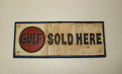 Cast Iron GULF OIL Service Station SIGN Gasoline Oil Petro Cast SIGN
