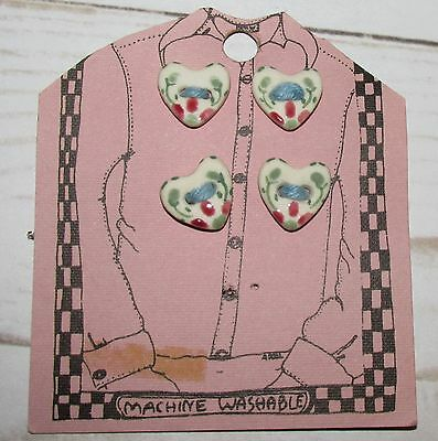 """Vtg 4pcs Handmade HEART Floral Buttons .5"""" H New old Stock The Hands Work"""