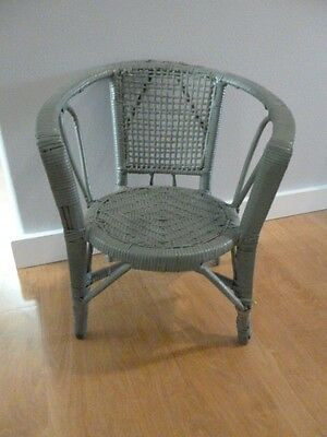 Childs Rattan Chair Painted Green