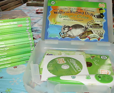 LeapFrog TAG Reading System  Pen + Case 43 books lot 22 softcovers 21 hardcovers
