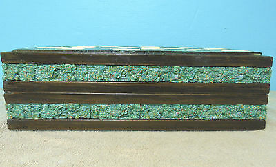 Vintage Antique Green Onyx chess set  board wood trim rare aztec spaniards