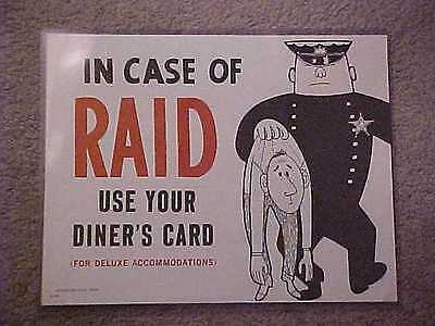 """Harolds Club Casino """"in Case Of Raid Use Your Diner's Card"""" Sign"""