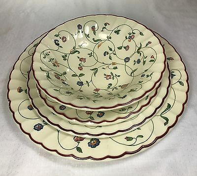 4 Piece Set Staffordshire Oakwood Tableware Red Trim Multifloral Made in England