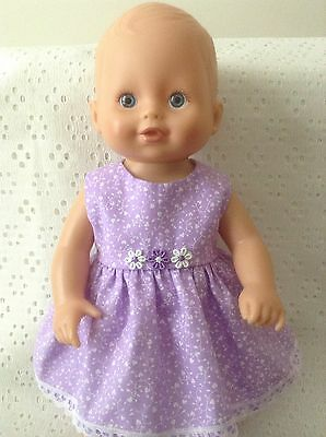 """Dolls Clothes for 13"""" Little Baby Born/Little Mummy Doll ~ Lilac & White Dress"""
