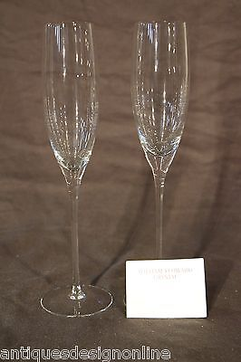BIG Pair signed famous WILLIAM YEOWARD crystal champagne toasting FLUTES perfect