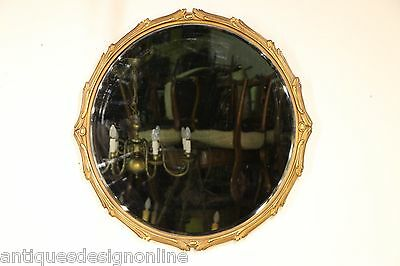 Large French gold leaf gilt circular antique mirror carved frame round Art Deco