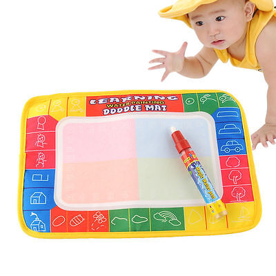 Kids Baby Water Drawing Painting Writing Mat Pad Board With Magic Pen Doodle Toy