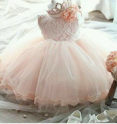Girls Lace Tutu Formal Party Dress Weddings Christenings Flower Girl Bridesmaid