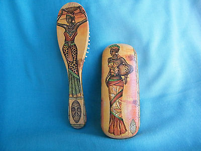 Set of wooden hair brush and metal eyeglasses case in african style,gift for her