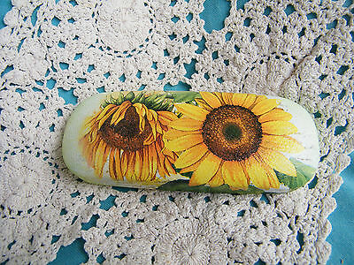 Glasses case, spectacle case, hand made,sunflowers glasses case,shabby chic,hard