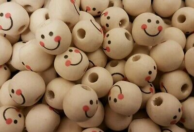 Painted face round wooden beads 15mm Pack of 25 doll girl smile wood angel (E43)