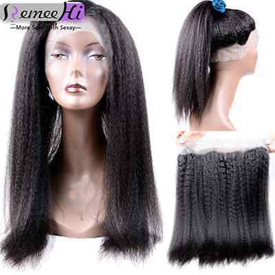 New Kinky Straight 360 Lace Frontal Closure Brazilian Human Hair Hot Wig 8-22''