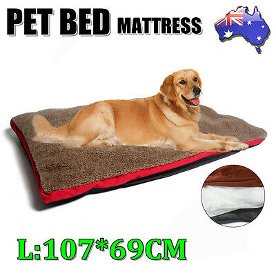 Pet Bed Deluxe Sherpa Wool Mattress Dog Cat Warm Pad Removable Mat Cushion Large