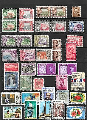 Collection of Dominica Stamps in Stock Sheet