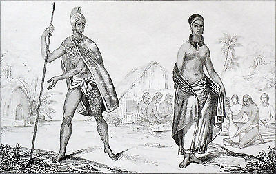 OCEANIA - HAWAII ISLAND: OFFICER of the KING & CHIEF WOMAN - Engraving 19th c.