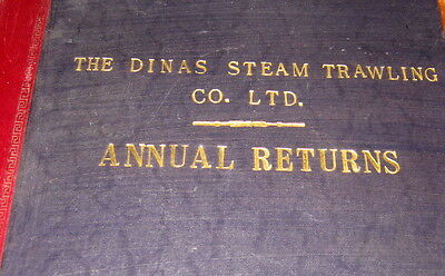 Collectable book Dinas Steam Trawling Co WW2 leather ledger Hull Fleetwood ships