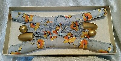 X2 Vintage Floral Fabric Padded Coat Hangers c1950s + Original Box