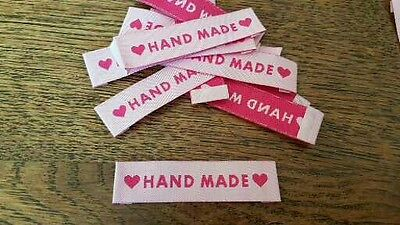 25 HANDMADE motif pink woven fabric labels for clothing knitting sewing UK