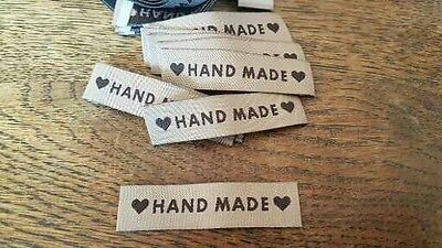25 HANDMADE motif coffee woven fabric labels clothing knitting sewing crafts  UK