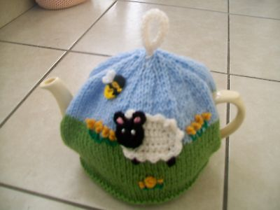 Hand Knitted Sheep  In The Meadow Tea Cosy For A Medium Teapot