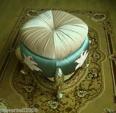 Classic Embroider Decorative Flannelette/Fabric Round Vanity Stool/Footstool &5