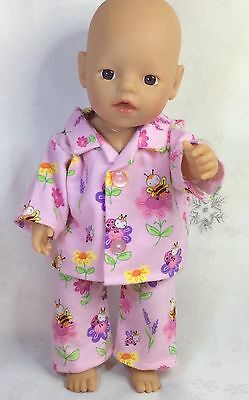 "Handmade Dolls Clothes To Fit 13""  Little Baby Born -  Flanelette Pyjamas"