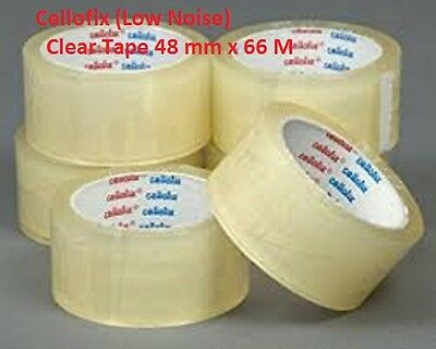 12 Rolls Of 48mm x 66M CLEAR LOW NOISE QUALITY Parcel Pack Tape CHEAPEST