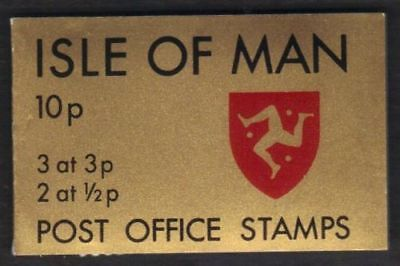ISLE OF MAN POSTAGE STAMP BOOKLET / SACHET 1973 10p GOLD 3 x 3p 2 x 1/2p