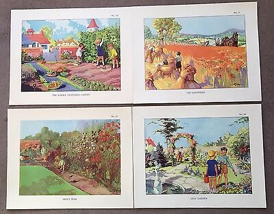 Collection Of 4 Vintage Macmillan Educational Posters