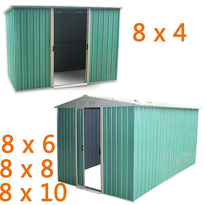 New Metal Garden Shed Storage 2 Door Pent Apex Roof Free Base Foundation Outdoor