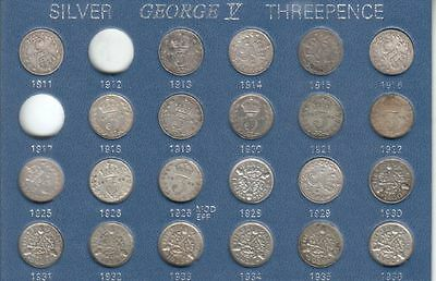King George V Silver Threepences 3d 1911-1936 Threepence part Set in Case