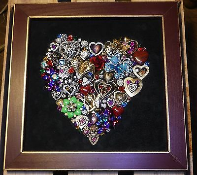 Vintage Jewelry Heart of Hearts Wall Art, Jewelry Art one of a KIND, made in USA