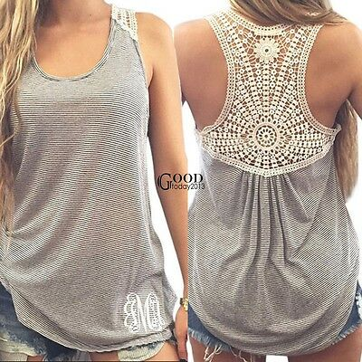 Ladies Vest Top Sleeveless Lace Crochet Floral Summer Casual Tank Blouse T Shirt