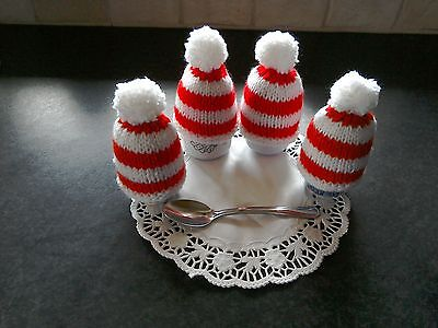 Pretty knitted egg cosies in  red and white x 4