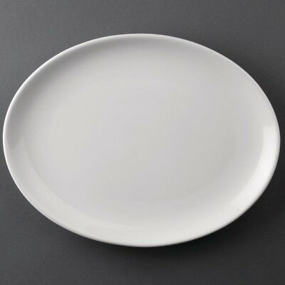 Athena Hotelware Oval Coupe Plates 254x178mm - Pack of 12 | Porcelain Dinnerware