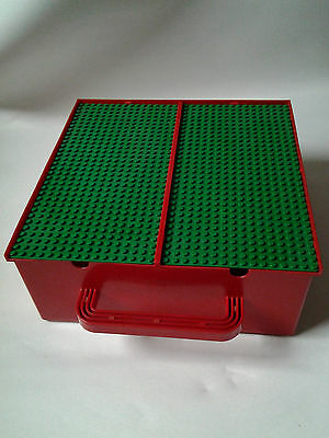 Red LEGO storage 2 compartment box with 2 green base plates 16 x 32